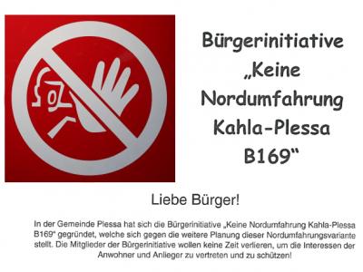 """Bürgerinitiative """"Keine Nordumfahrung Kahla-Plessa B 169"""""""