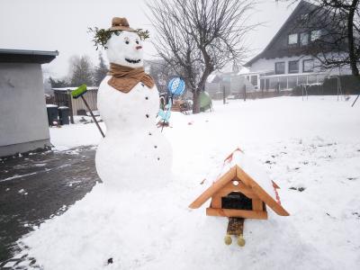 Tony Köhlert hat für seine beiden Kinder einen riesigen Schneemann gebaut, damit sie sich daran erfreuen kann. Foto: Tony Köhlert