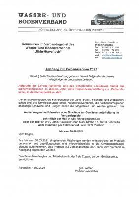 """Keine Verbandsschau 2021 des Wasser- und Bodenverbandes """"Rhin-/Havelluch"""" in Präsenzveranstaltung"""