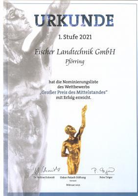 """Fischer Landtechnik nominiert für """"Großen Preis des Mittelstandes"""""""