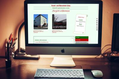 Ab sofort ist die neue Homepage der Grund- und Oberschule Calau online. Foto: pixabay / SplitShire, Montage: Stadt Calau