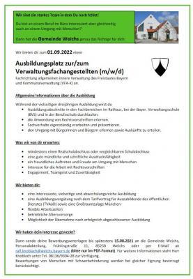 Foto zur Meldung: Stellenanzeige der Gemeinde Weichs - Ausbildungsplatz zur/zum Verwaltungsfachangestellten (m/w/d) zum 01.09.2022