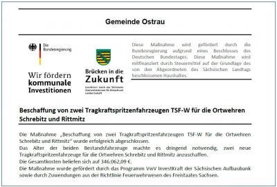 Foto zur Meldung: Beschaffung von zwei Tragkraftspritzenfahrzeugen TSF-W für die Ortwehren Schrebitz und Rittmitz
