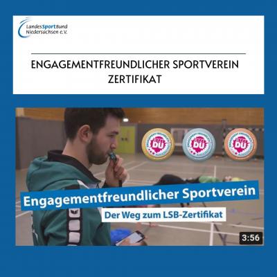 Foto zur Meldung: YouTube Tutorial: Engagementfreundlicher Sportverein - Zertifikat