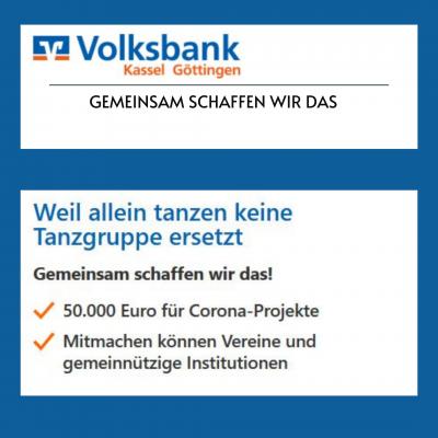Bild der Meldung: Bewerbung bis 12.03.21: 50x 1000 Euro - Corona-Aktion der Volksbank Kassel-Göttingen