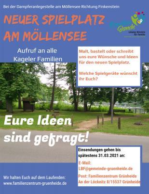 Aufruf zur Gestaltung des neuen Spielplatzes am Möllensee