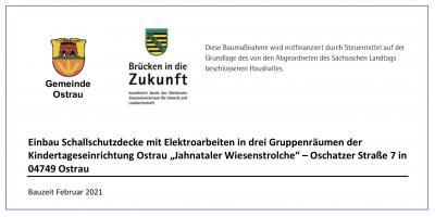 """Öffentliche Bekanntmachung zum Einbau Schallschutzdecke mit Elektroarbeiten in drei Gruppenräumen der Kindertageseinrichtung Ostrau """"Jahnataler Wiesenstrolche"""""""