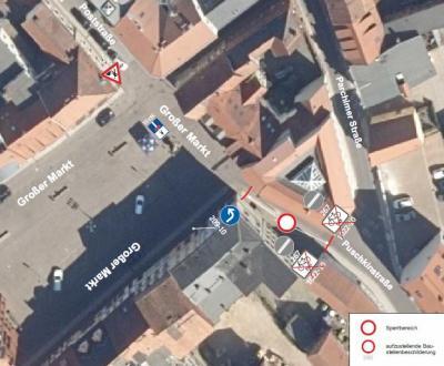 Abbildung: Einschränkungen Großer Markt, Ecke Puschkinstraße