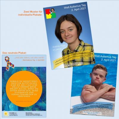 Das Bild zeigt das neutrale Plakat sowie zwei Muster für individuelle Plakate.