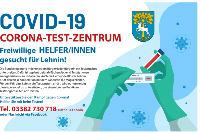Helfer/innen für CORONA-TEST-ZENTRUM gesucht
