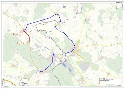 Die Karte zeigt den Bauabschnitt sowie die Umleitungsstrecke. (Bild: Niedersächsische Landesbehörde für Straßenbau und Verkehr, Geschäftsbereich Wolfenbüttel)