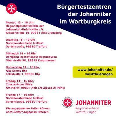 Vorschaubild der Meldung: Johanniter Bürgertestzentren im Wartburgkreis