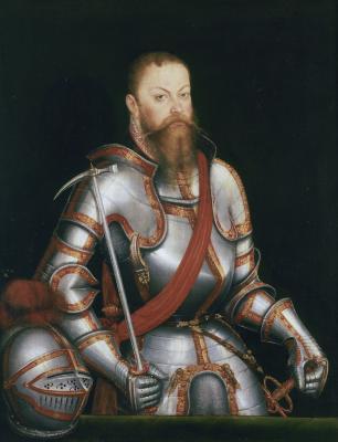 Lucas Cranach d. J.: Moritz von Sachsen in Rüstung (1578); Dresden, Staatliche Kunstsammlungen (Wikimedia, gemeinfrei)