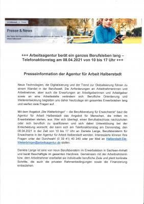 +++ Telelefonaktionstag der Agentur für Arbeit Halberstadt am 08.04.2021 von 10 bis 17 Uhr +++