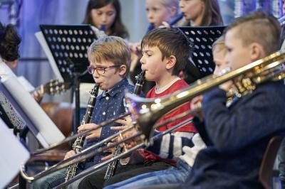 JeKits-Orchester der Frhr.-v-Ketteler-Schule beim Auftritt auf Zollverein am 19.01.2020 (Foto: JeKits-Stiftung)