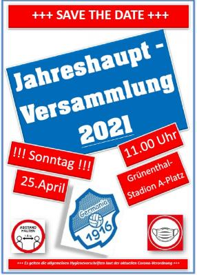 Vorstand - Jahreshauptversammlung 2021 +++ SAVE THE DATE +++