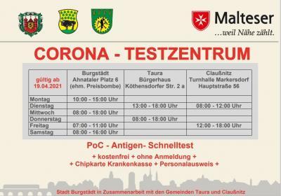 CORONA-TESTZENTRUM für PoC-Antigen-Schnelltest - kostenfrei