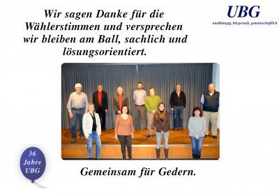 Die UBG sagt Danke!