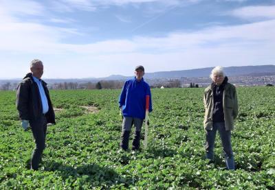 Peter Schürmann (BI Espenau), Volker Damm (BI Vellmar) und Klaus von Laar (BI Espenau) bei der Markierung des geplanten Streckenverlaufs