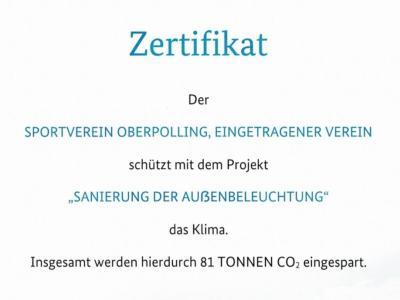 Zertifikat Klimaschutz Ausschnitt