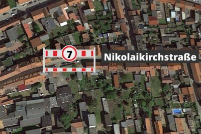 Foto zur Meldung: Vollsperrung Nikolaikirchstraße 26.04.2021