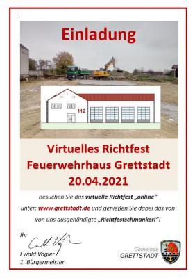Virtuelles Richtfest Neubau Feuerwehrhaus Grettstadt