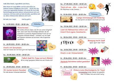 Mai- und Juni-Angebote im Jugendclub Ebeleben