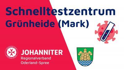 Banner Schnelltestzentrum Grünheide (Mark), Design: Johanniter Regionalverband Oder-Spree