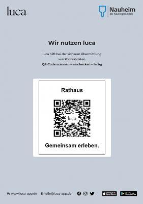 Foto zur Meldung: Gemeinde Nauheim und Gewerbeverein werben für Einsatz der luca-App
