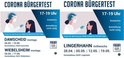 Corona Bürgertest in Damscheid, Lingerhahn und Wiebelsheim