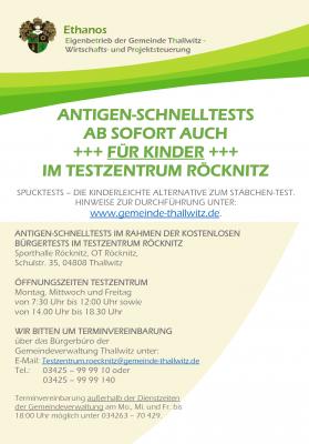 Flyer Antigen-Schnelltests für Kinder