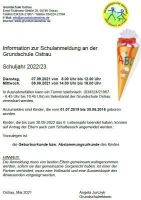 Foto zur Meldung: Information zur Schulanmeldung an der Grundschule Ostrau für das Jahr 2022/23