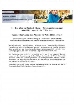 +++ Telefonaktionstag der Agentur für Arbeit Halberstadt am 06.05.2021 von 10 bis 17 Uhr +++