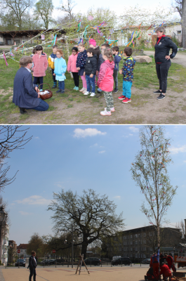 Bürgermeister Karsten Ilm lässt Maibaum aufstellen