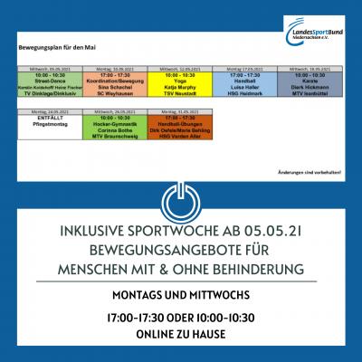 Inklusive Online-Sportwoche - Fortsetzung ab 05.05.21