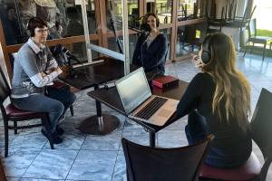 Podcast-Aufnahme im Narrenschopf