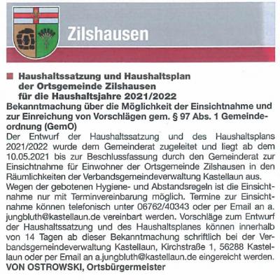 Haushaltssatzung und Haushaltsplan Zilshausen