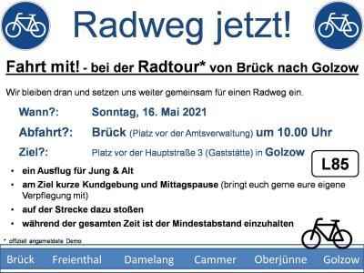 Fahrrad-Demo für Radweg an der L 85