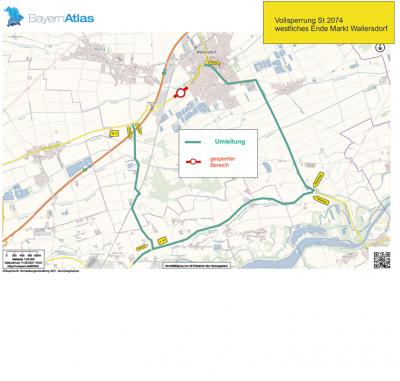 Bild der Meldung: Vollsperrung St 2074 Wallersdorf zwischen westl. Ortsbeginn und AS Wallersdorf-West am 17.05. und 18.05.2021