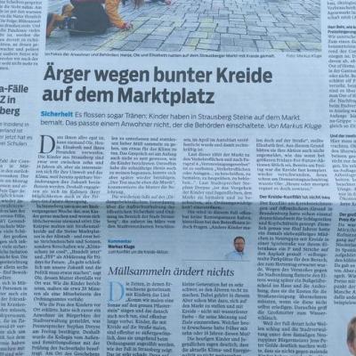 """Foto zur Meldung: Zu dem Beitrag """"Ärger wegen bunter Kreide auf dem Marktplatz"""" (MOZ vom 11.05.2021)"""