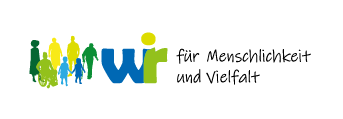 Logo Wir für Menschlichkeit und Vielfalt - Silhouetten von Menschen in Blau- und Grüntönen
