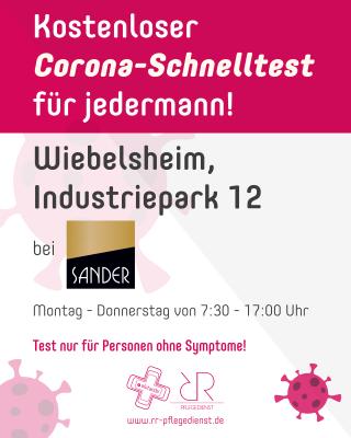 Foto zur Meldung: Kostenlose Schnelltests ab dem 25.05. bei der Firma Sander in Wiebelsheim möglich