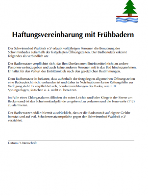 Foto zur Meldung: Haftungsvereinbarung für Frühschwimmer