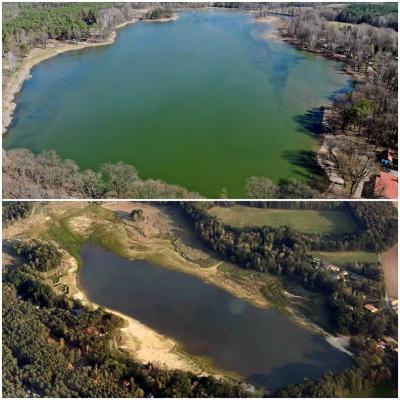 Ein Blick auf den Körbaer Teich aus der Vogelperspektive, oben: April 2021 / unteres Bild: ca. 6 Monate zuvor