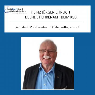 Heinz Jürgen Ehrlich beendet Ehrenamt beim KSB
