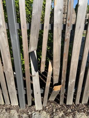 Einige der beschädigten Zaunlatten
