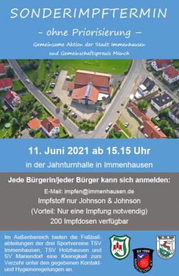 Plakat Sonderimptermin 11.06.2021