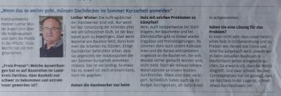 Unsere Meinung - Interview mit Lothar Winter Kreishandwerksmeister / Freie Presse am 01.06.2021