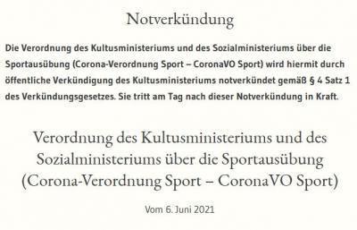 CoronaVO Sport zum 06. Juni 2021