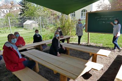 Bei der Einweihung des Grünen Klassenzimmers, Foto: Thomas Kube, LVZ